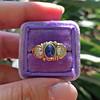 1.75ctw Cab Sapphire and Old European Cut Diamond 3-stone Ring 17
