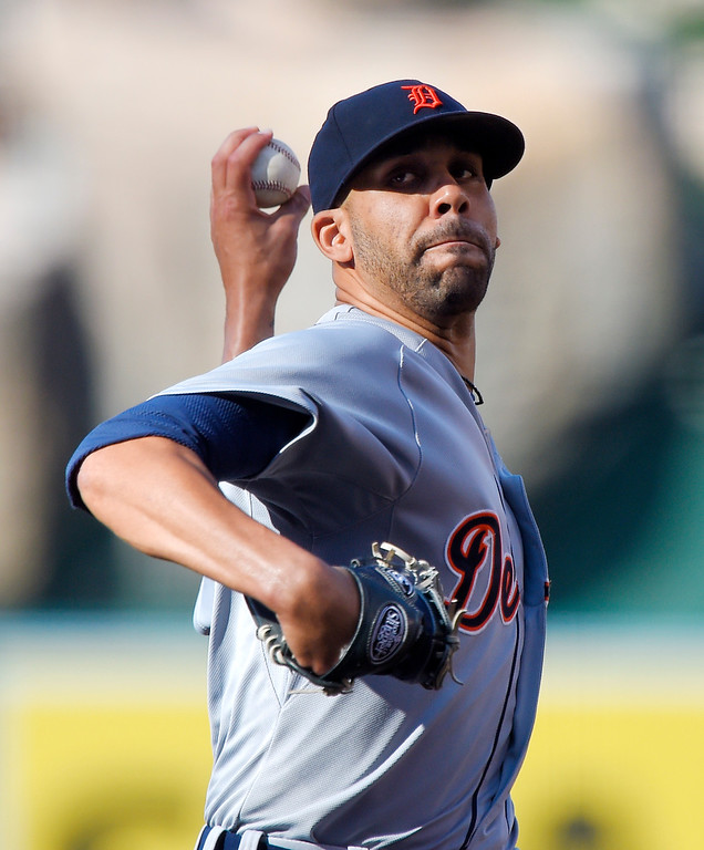 . Detroit Tigers\' David Price throws to the plate during the first inning of a baseball game against the Los Angeles Angels, Sunday, May 31, 2015, in Anaheim, Calif. (AP Photo/Mark J. Terrill)