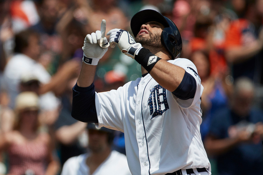 . Detroit Tigers J.D. Martinez (28) celebrates after hitting a home run against the Cleveland Indians during the third inning in the first baseball game of a doubleheader in Detroit, Saturday, July 1, 2017. (AP Photo/Rick Osentoski)