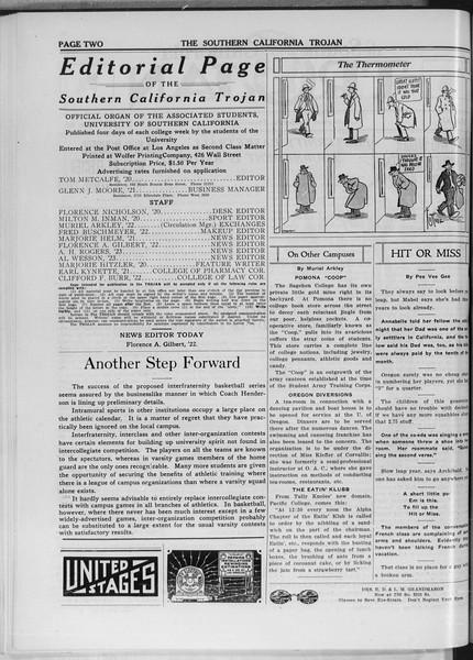 The Southern California Trojan, Vol. 11, No. 40, January 08, 1920
