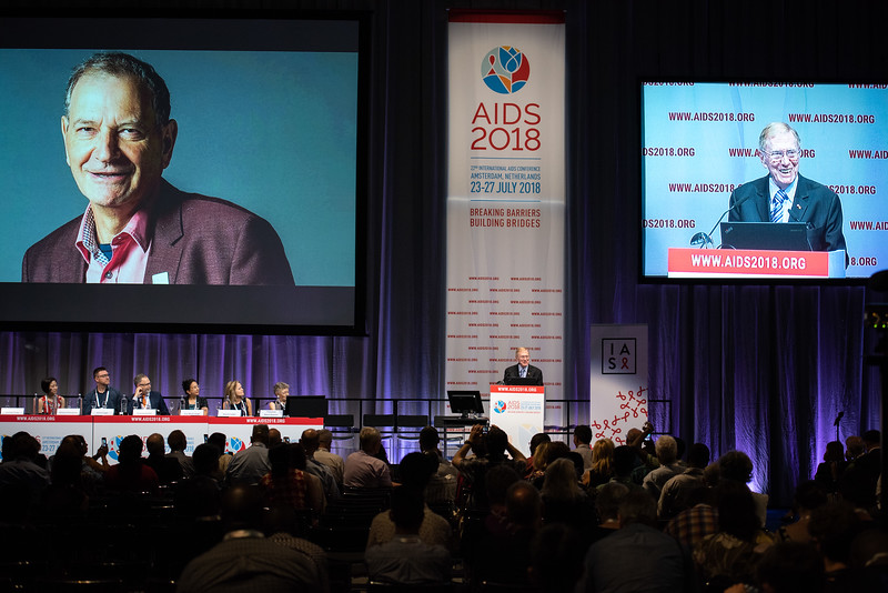 22nd International AIDS Conference (AIDS 2018) Amsterdam, Netherlands.   Copyright: Steve Forrest/Workers' Photos/ IAS  Photo shows: Michael Kirby, delivering a speech in memory of David Cooper, during the IAS Members' Meeting.