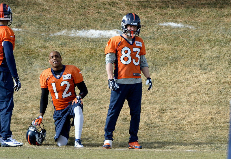 . Denver Broncos wide receiver Wes Welker (83) looks on during practice January 16, 2014 at Dove Valley. The Denver Broncos are preparing for their AFC Championship game against the New England Patriots at Sports Authority Field.  (Photo by John Leyba/The Denver Post)