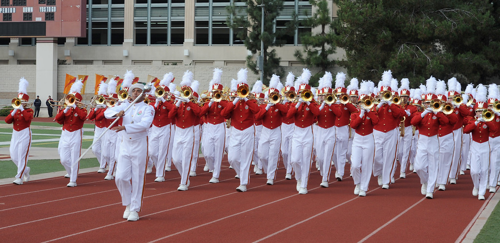 . The Pasadena City College Tournament of Roses Herald Trumpets and Honor Band performs during Bandfest presented by REMO at Pasadena City College on Tuesday December 30, 2014. Bandfest features the bands selected to participate in the 2015 Rose Parade. Over the course of two days, each band, along with its auxiliary performers, will present the field show that has led to its success. (Photo by Walt Mancini/Pasadena Star-News)