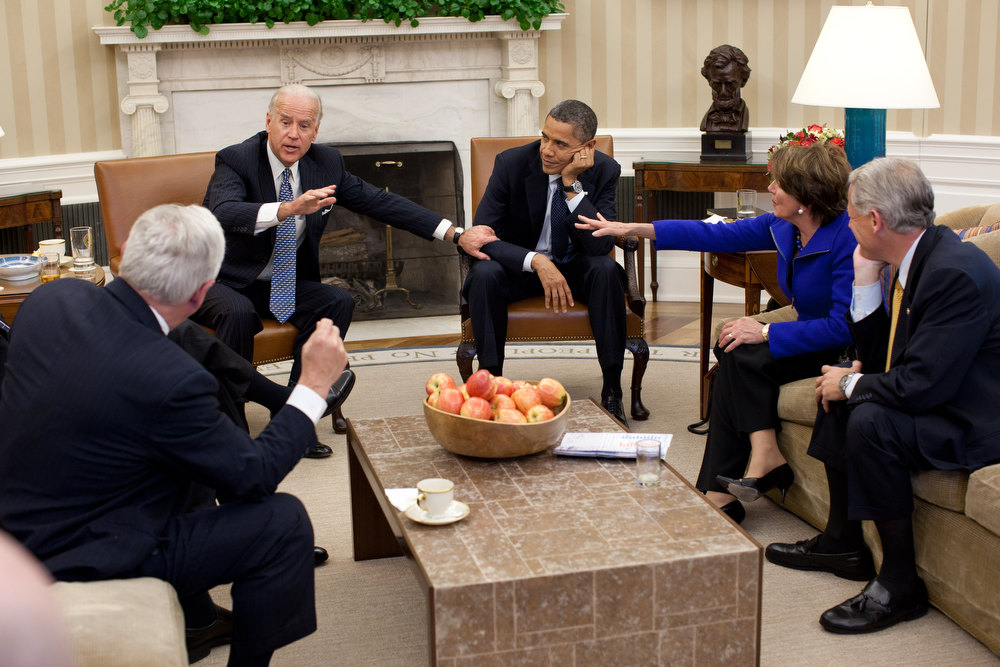 ". Nov. 1, 2011 ""Usually the best moments at meetings are before and after the participants actually sit down. In this case, though, there was an interesting juxtaposition of gestures as the President and Vice President met with the House Democratic Leadership in the Oval Office.\"" (Official White House Photo by Pete Souza)"