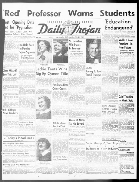 Daily Trojan, Vol. 40, No. 83, February 21, 1949