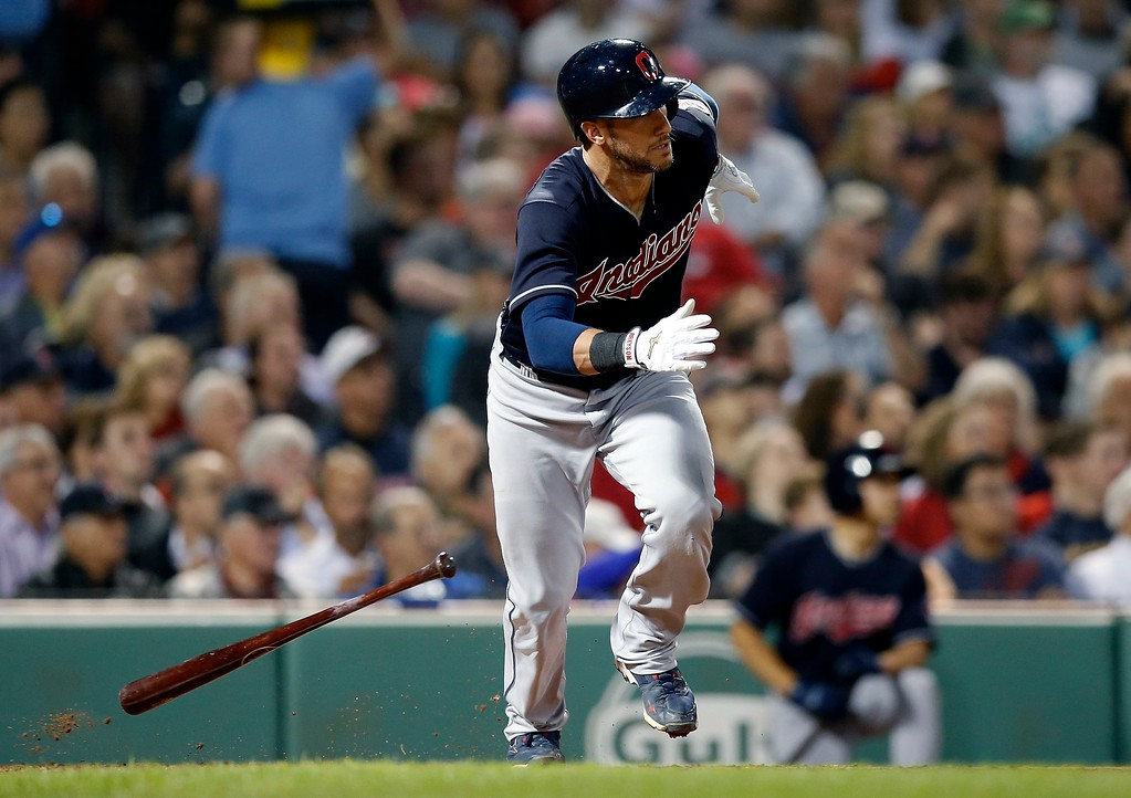 . Cleveland Indians\' Yan Gomes runs on his RBI-single during the fourth inning of a baseball game against the Boston Red Sox in Boston, Tuesday, Aug. 21, 2018. (AP Photo/Michael Dwyer)