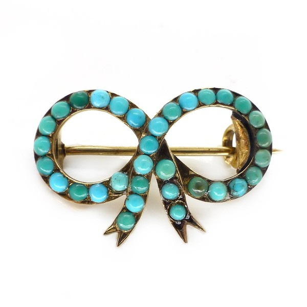 ANTIQUE EDWARDIAN 15CT GOLD TURQUOISE STONE BOW BROOCH