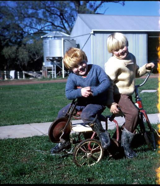 1974-7 (1) Allen 3 yrs 2 mths & Andrew 4 yrs 11 mths @ Middlecreek, Flowerdale.jpg
