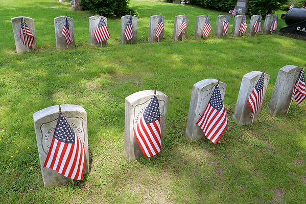 American Flags at Lowell Cemetery