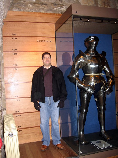 Craig sizes up a suit of armor in the Royal Armouries, located in the White Tower.  Open to the public since 1660, it is the oldest museum in the United Kingdom.