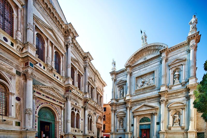 Scuola Grande di San Rocco (left) and San Rocco (St Roch) church (right), Campo San Rocco, Venice, Italy