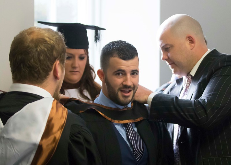 28/10/2015. Waterford Institute of Technology Conferring. Pictured are Gerry Kelly, Wicklow, Zane Mulcahy, Clonmel, Brian Mernagh, New Ross, Co. Wexford and Eadaoin Miskella who graduated BA (Hons) Social Care. Picture: Patrick Browne