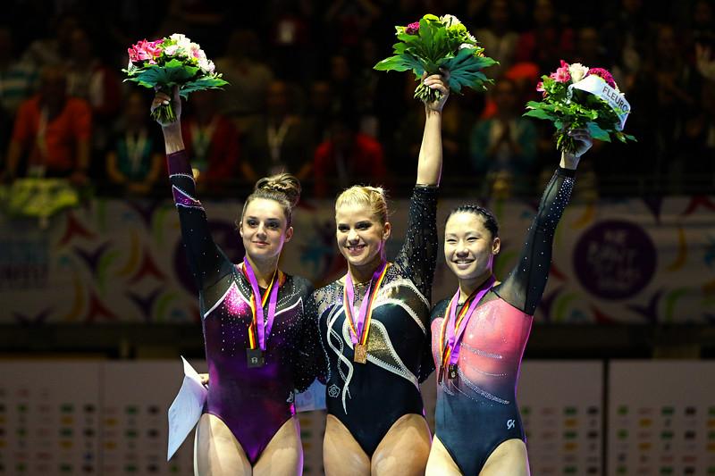 Pauline SCHÄFER (GER), Elisabeth SEITZ (GER), Kim BUI (GER); Deutsche Turnmeisterschaften Mehrkampf Damen Finale in, Berlin, Germany; 04.06.17, Photo: Jan von Uxkull-Gyllenband