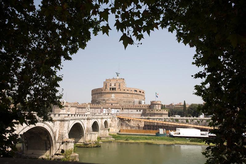 Castel Sant'Angelo framed by trees, Rome