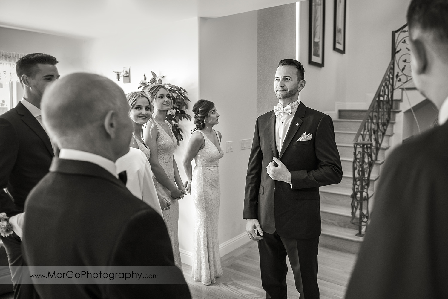 black & white photo of groom waiting for bride during first look tn Walnut Creek