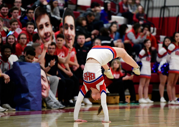 3/7/2019 Mike Orazzi | Staff A Berlin High School Cheerleader flips during the Class M Quarterfinal Girls Basketball Game with Jonathan Law at Berlin High School Thursday night.