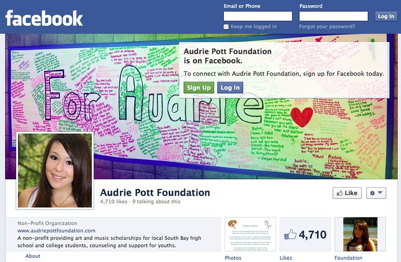 . The Facebook page of the Audrie Pott Foundation, begun in September 2012. (Facebook)