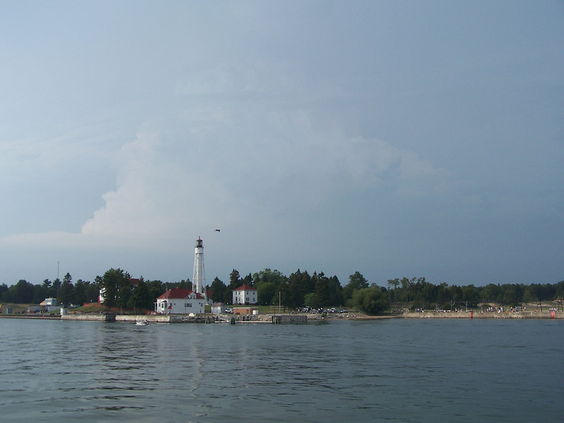Storm clouds over Sturgeon Bay Coast Guard Station