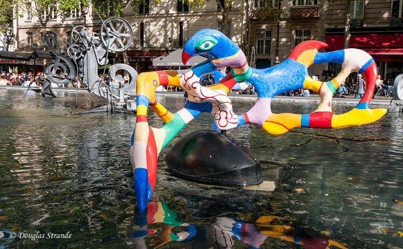 A fountain with whimsical art at Pompidou Center