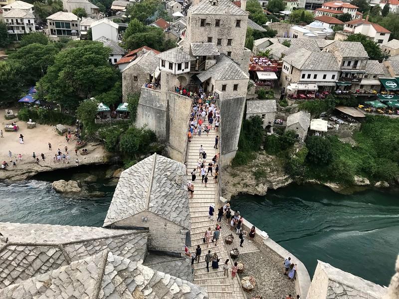 bridge crossing from Mostar bridge tower