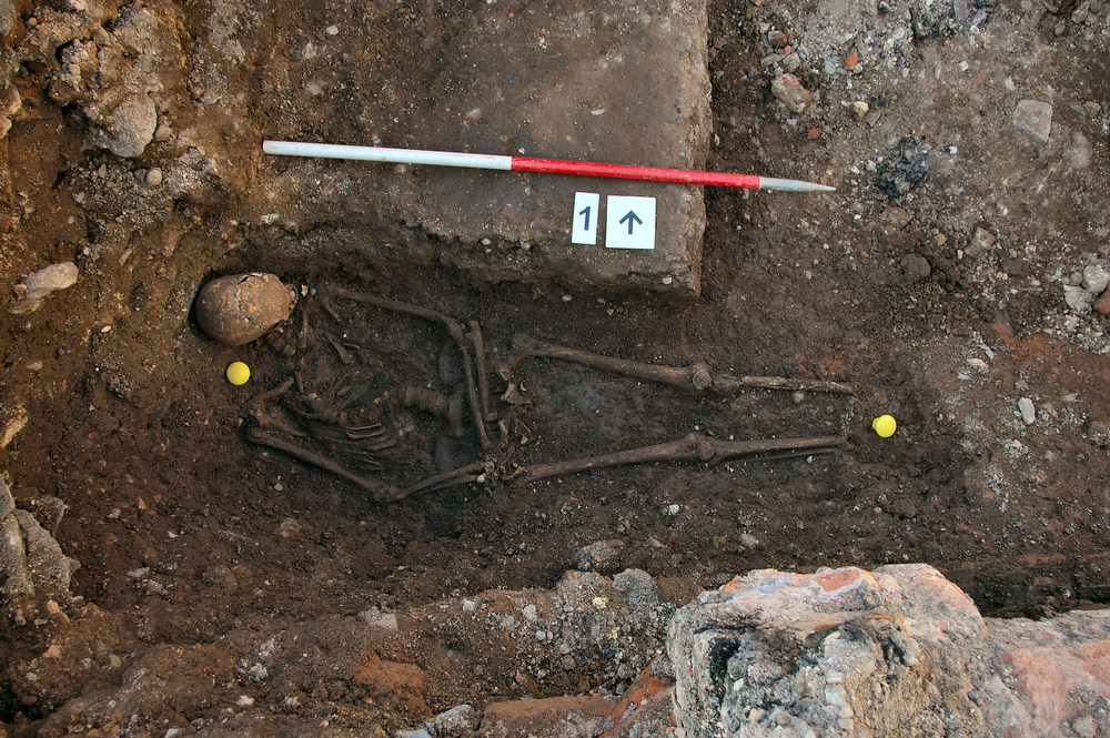 . The skeleton of Richard III is seen in a trench at the Grey Friars excavation site in Leicester, central England, in this photograph provided by the University of Leicester and received in London on February 4, 2013. A skeleton with a cleaved skull and a curved spine entombed under a car park is that of Richard III, scientific tests confirmed, solving a 500-year-old mystery about the final resting place of the last English king to die in battle.  REUTERS/University of Leicester/Handout (