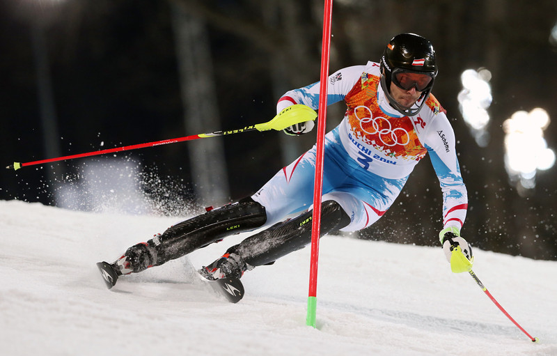 . Austria\'s Mario Matt skis past a gate in the second run of the men\'s slalom to win the gold medal at the Sochi 2014 Winter Olympics, Saturday, Feb. 22, 2014, in Krasnaya Polyana, Russia.(AP Photo/Luca Bruno)