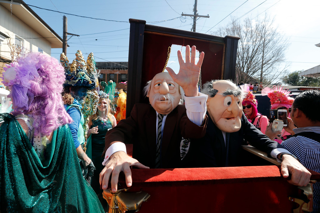 . Revelers march during the Society de Sainte Anne parade, on Mardi Gras day in New Orleans, Tuesday, Feb. 13, 2018. (AP Photo/Gerald Herbert)