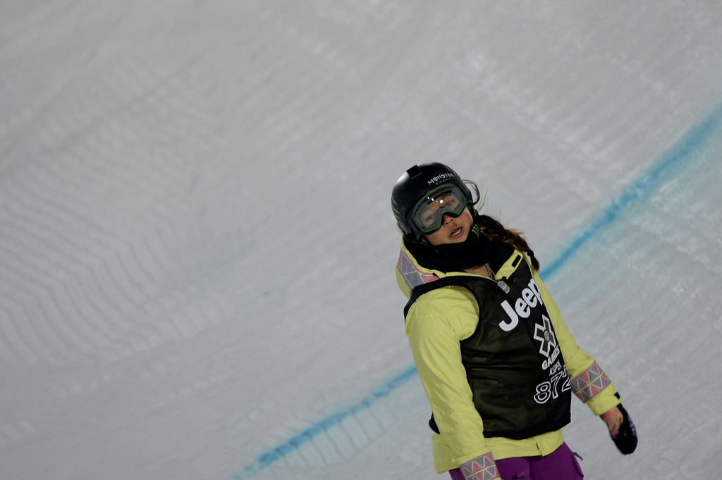 . Gold medalist Chloe Kim injured her face after wrecking in practice shortly before the women\'s snowboard half pipe final. Winter X Games on Saturday, January 24, 2015. (Photo by AAron Ontiveroz/The Denver Post)