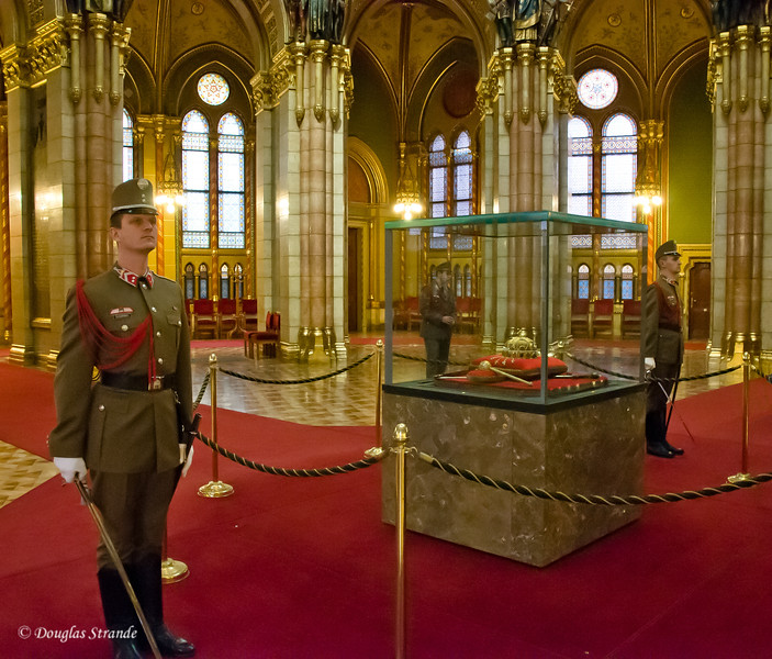 Hungarian Parliament in Budapest:  Royal Crown under constant guard