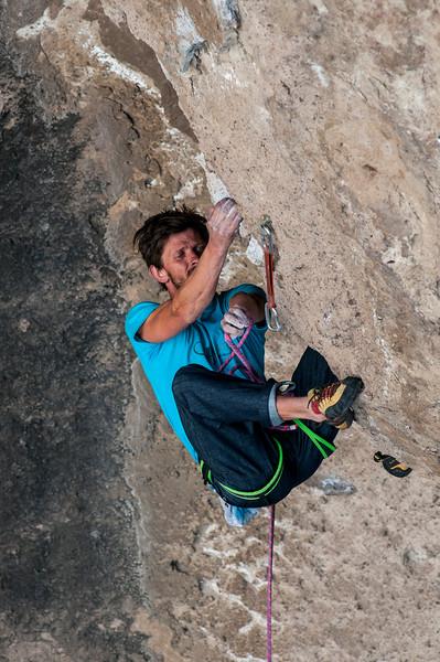 Romain Gendey    climbing Pepe Le Puh 8b+, 5.13d, Valle Encantado, Argentina.