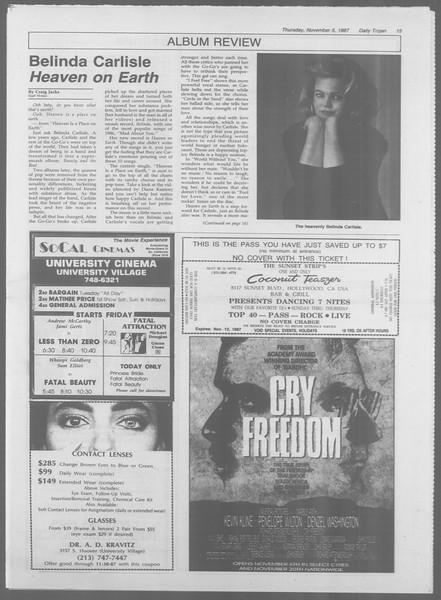 Daily Trojan, Vol. 105, No. 45, November 05, 1987