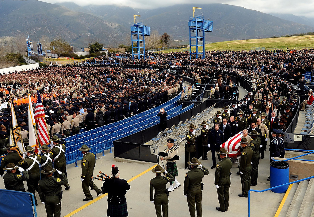 . A scene from memorial services for San Bernardino County Sheriff Deputy Jeremiah MacKay at the San Manuel Amphitheater in Devore February 21, 2013.  GABRIEL LUIS ACOSTA/STAFF PHOTOGRAPHER.
