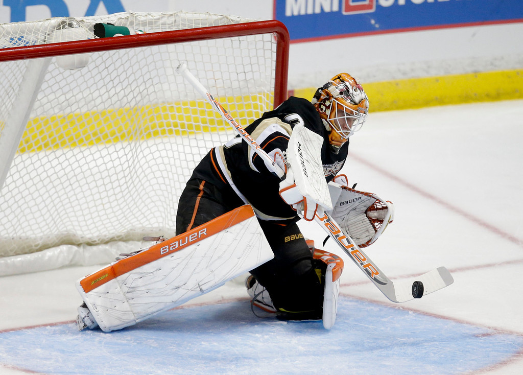 . Anaheim Ducks\' Viktor Fasth, of Sweden, makes a save during the third period of an NHL hockey game against the Colorado Avalanche in Anaheim, Calif., Wednesday, April 10, 2013. The Avalanche won 4-1. (AP Photo/Jae C. Hong)