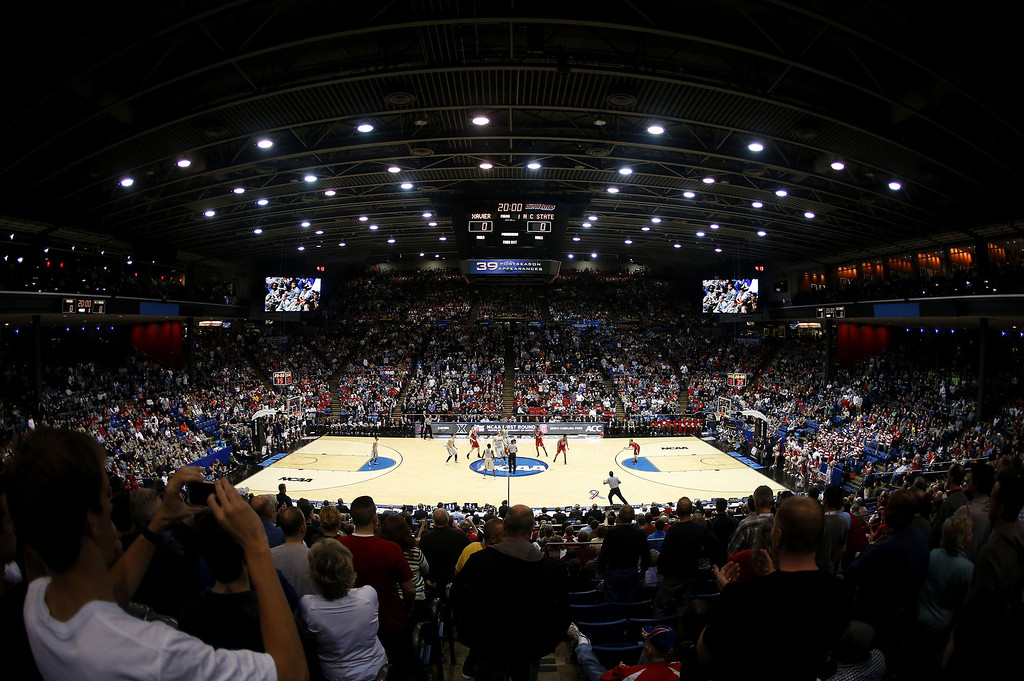 . A general view of the game between the North Carolina State Wolfpack and the Xavier Musketeers during the first round of the 2014 NCAA Men\'s Basketball Tournament at at University of Dayton Arena on March 18, 2014 in Dayton, Ohio.  (Photo by Gregory Shamus/Getty Images)