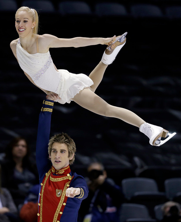 . Stacey Kemp and David King, of Great Britain, perform during the pairs free program at the World Figure Skating Championships Friday, March 15, 2013, in London, Ontario. (AP Photo/Darron Cummings)