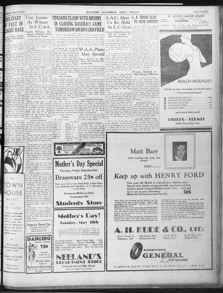 Daily Trojan, Vol. 22, No. 139, May 08, 1931