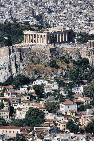Looking down on the Parthenon and the Acropolis from the top of Lycabetus Hill.