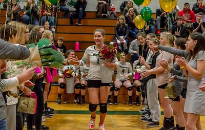 Vashon Island High School Volleyball Seniors Night Fall 2018