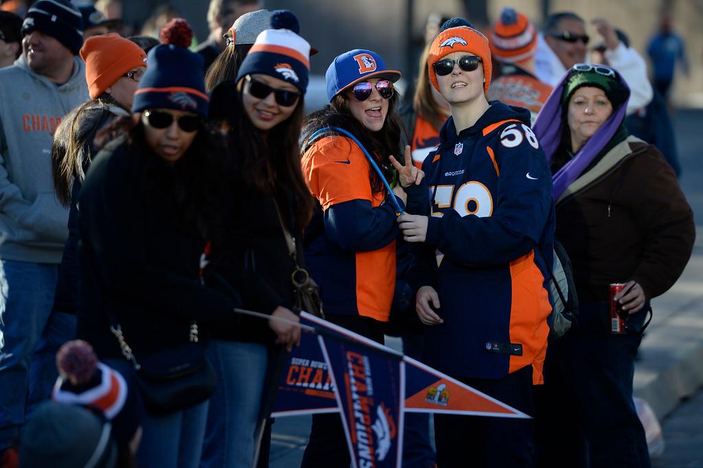 . DENVER, CO - February 09: Fans gather at Civic Center Park for the Denver Broncos Super Bowl 50 celebration February 07, 2016. (Photo by Andy Cross/The Denver Post)