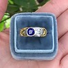 1.55ctw Old Mine Cut and Sapphire Gypsy Ring, GIA 15