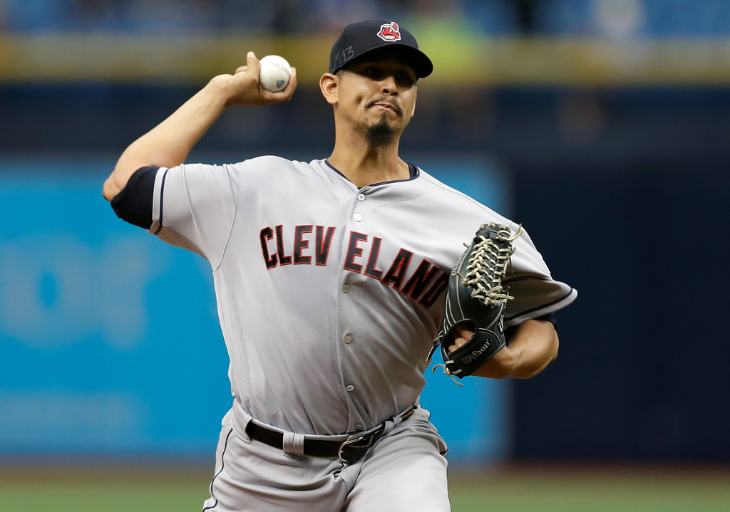 . Cleveland Indians pitcher Carlos Carrasco delivers to the Tampa Bay Rays during the first inning of a baseball game Wednesday, Sept. 12, 2018, in St. Petersburg, Fla. (AP Photo/Chris O\'Meara)