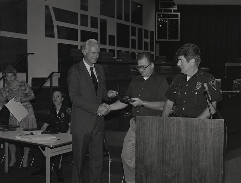 Mayor Hudnut at IPD Quarterly Awards, September 15, 1983, Img. 2, with Joseph McAtee