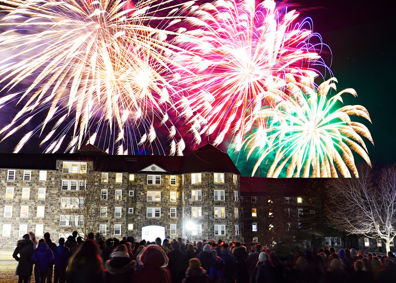Firework show during Middlebury's Winter Carnival