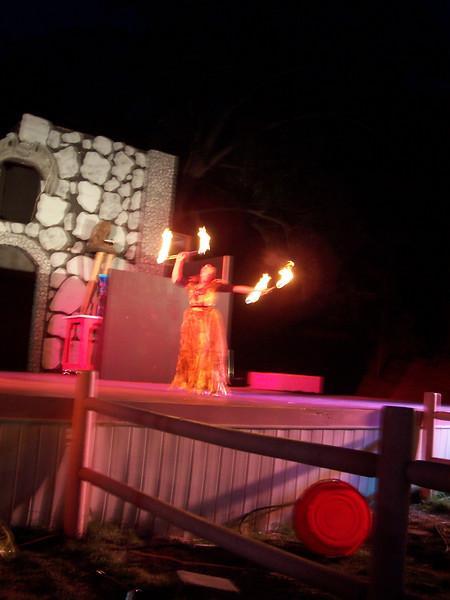 (blurry) Fire batons.