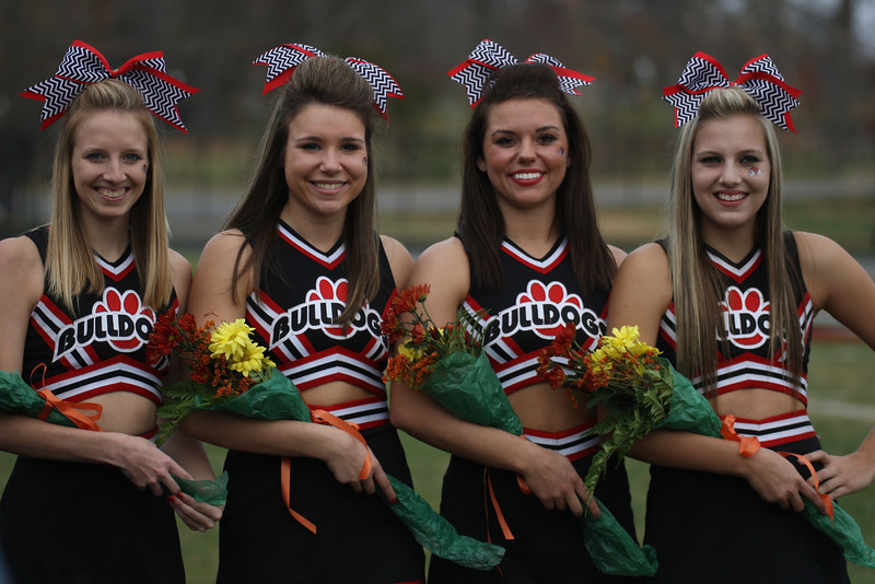 Senior Cheerleaders Cameron Puckett, Sarah Slate, Brieawna Leath, and Kylie Latham
