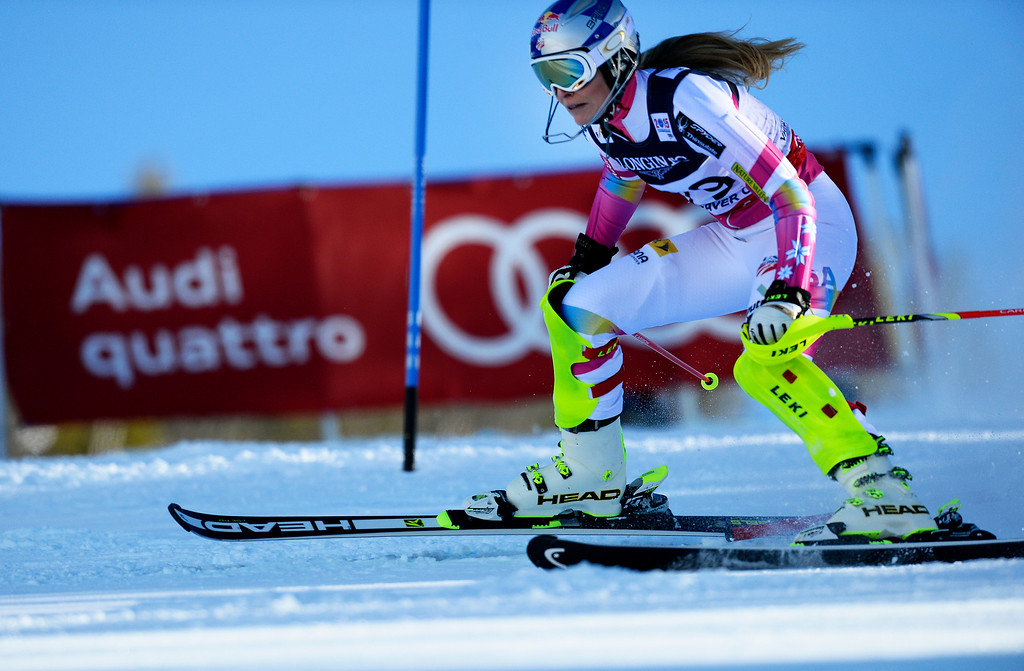 . BEAVER CREEK, CO - FEBRUARY 9: Lindsey Vonn, of the United States, gets the gate between her skis and blew out of the course during competes the Women\'s slalom portion of the women\'s alpine combined race at the FIS Alpine World Ski Championships in Beaver Creek, CO. February 9, 2015. She was unable to finish the race.(Photo By Helen H. Richardson/The Denver Post)