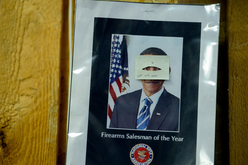 . MONTE VISTA, CO - FEBRUARY 26: A post of Barack Obama hangs on a wall at Valley Gun in Monte Vista. Under Obama, gun shops have seen a sharp rise in gun sales. Gun owners in southern Colorado largely agree that responsible ownership begins at home. (Photo by AAron Ontiveroz/The Denver Post)
