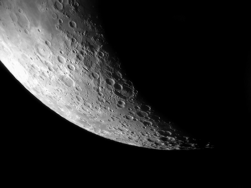 The moon imaged on April 21, 2007 at Mingo Creek Park Observatory. 10 inch f-12 refractor.