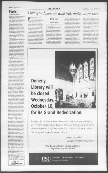 Daily Trojan, Vol. 144, No. 28, October 08, 2001
