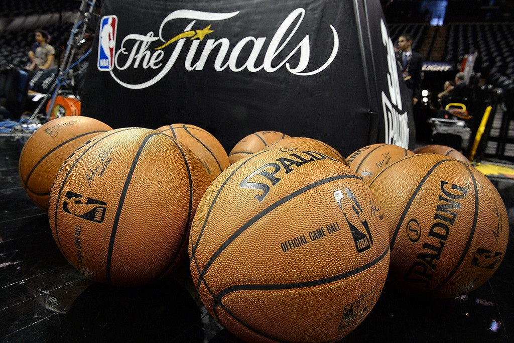 . Basketballs are seen on the court before the start of the NBA Finals pitting the San Antonio Spurs against the Miami Heat, June 5, 2014 in San Antonio,Texas.   ROBYN BECK/AFP/Getty Images